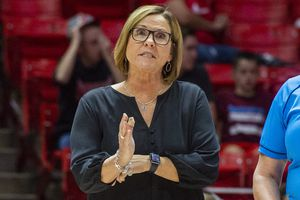 (Rick Egan  |  The Salt Lake Tribune)        Utah Head Coach, Beth Launiere has a word with the officials, in volleyball action between Utah and BYU, at the Jon M. Huntsman Center, Thursday, Sept. 19, 2019. Launiere this week is once again taking the Utes to the NCAA Volleyball Tournament.