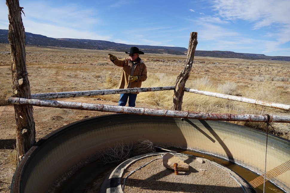 (Zak Podmore   The Salt Lake Tribune) Rancher Mike Wilcox shows off one of the livestock and wildlife guzzlers that's filled by a well for much of the year on his ranch in Lisbon Valley. Wilcox fears a copper mine's plans to pump diluted sulfuric acid into the shallow aquifer that supplies his well will drive him out of business. Nov.12, 2020.