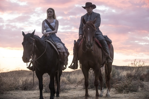 "(Photo: John P. Johnson/HBO) Evan Rachel Wood as Delores and James Marsden as Teddy in Season 2 of ""Westworld."""