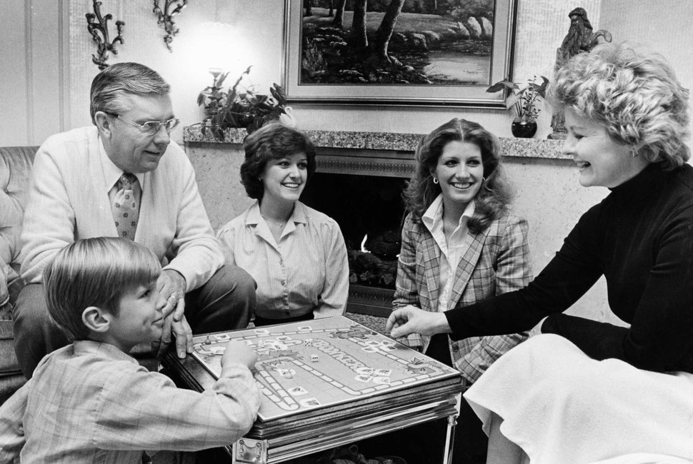 (Photo courtesy of The Church of Jesus Christ of Latter-day Saints) Members of the Ballard family playing a game in 1980. Barbara Bowen Ballard died Oct. 1, 2018.