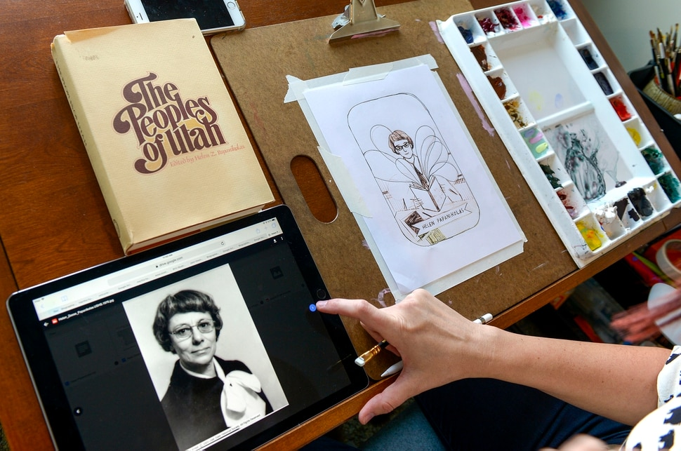 Leah Hogsten | The Salt Lake Tribune Brooke Smart draws the likeness of Helen Z. Papanikolas, a Greek-American historian, novelist and folklorist who documented the immigrant experience in Utah and the American West from a photograph in Smart's home studio, Thursday, October 4, 2018. Smart is an illustrator hired to create a portrait collection for Better Days 2020. The organization is working to educate people about women who played important roles in Utah history. Smart's series will feature 50 women and men who played formative roles in Utah history.