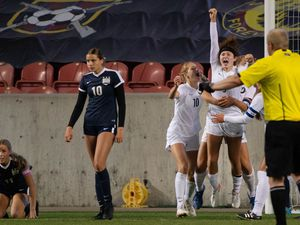 (Francisco Kjolseth  |  The Salt Lake Tribune) Emma Neff #9 of Olympus celebrates her game winning header in overtime over Bonneville during their 5A high school girls championship game at Rio Tinto Stadium in Sandy on Friday, Oct. 23, 2020. Bonneville won 1-0 in overtime.