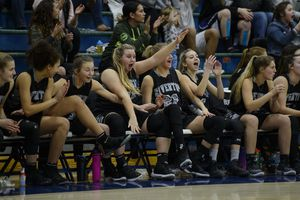 (Steve Griffin  |  The Salt Lake Tribune)  The Riverton bench celebrates a three pointer during their game against  Copper Hills at Cooper Hill s High School in West Jordan Thursday February 1, 2018.
