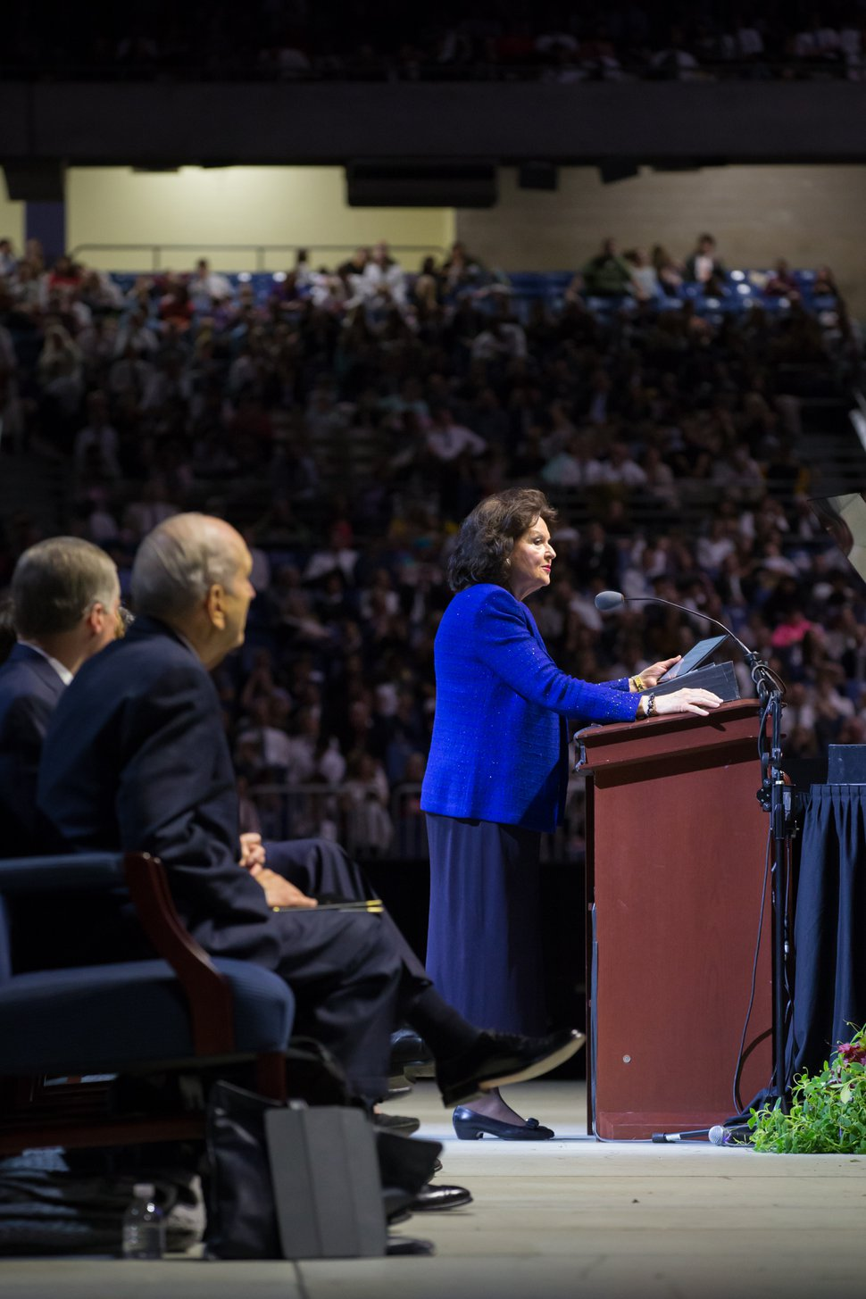 (Courtesy photo | The Church of Jesus Christ of Latter-day Saints) Wendy Nelson, wife of President Russell M. Nelson of The Church of Jesus Christ of Latter-day Saints, speaks to thousands of Latter-day Saints and invited friends who gathered for a special devotional at the Alamodome in San Antonio on Sunday, Nov. 18, 2018.