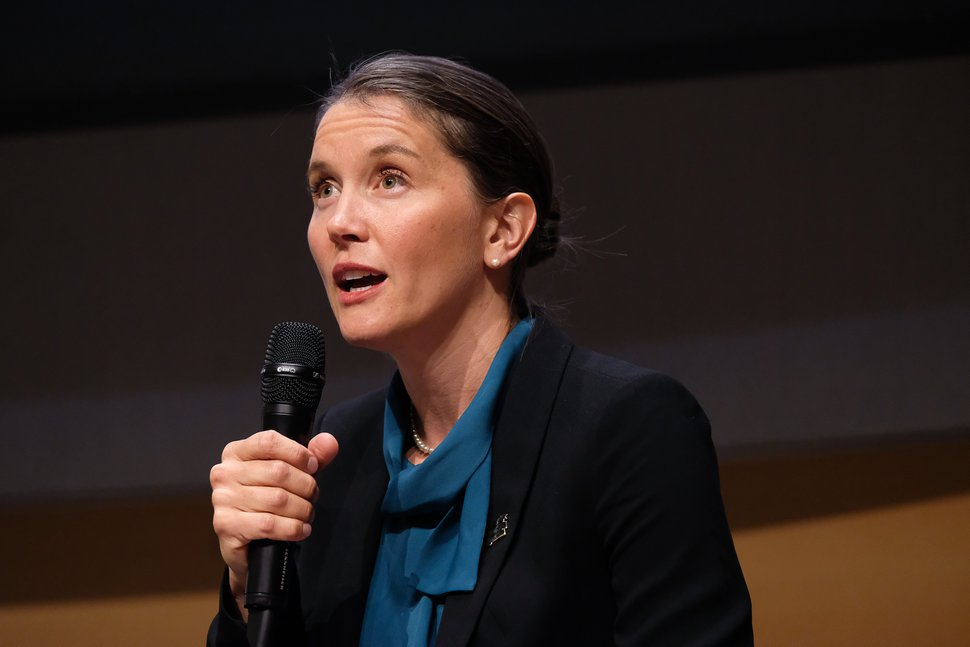 (Francisco Kjolseth | The Salt Lake Tribune) Erin Mendenhall addresses the crowd during a debate for Salt Lake City mayor at the Salt Lake City Library on Wed. June 26, 2019.
