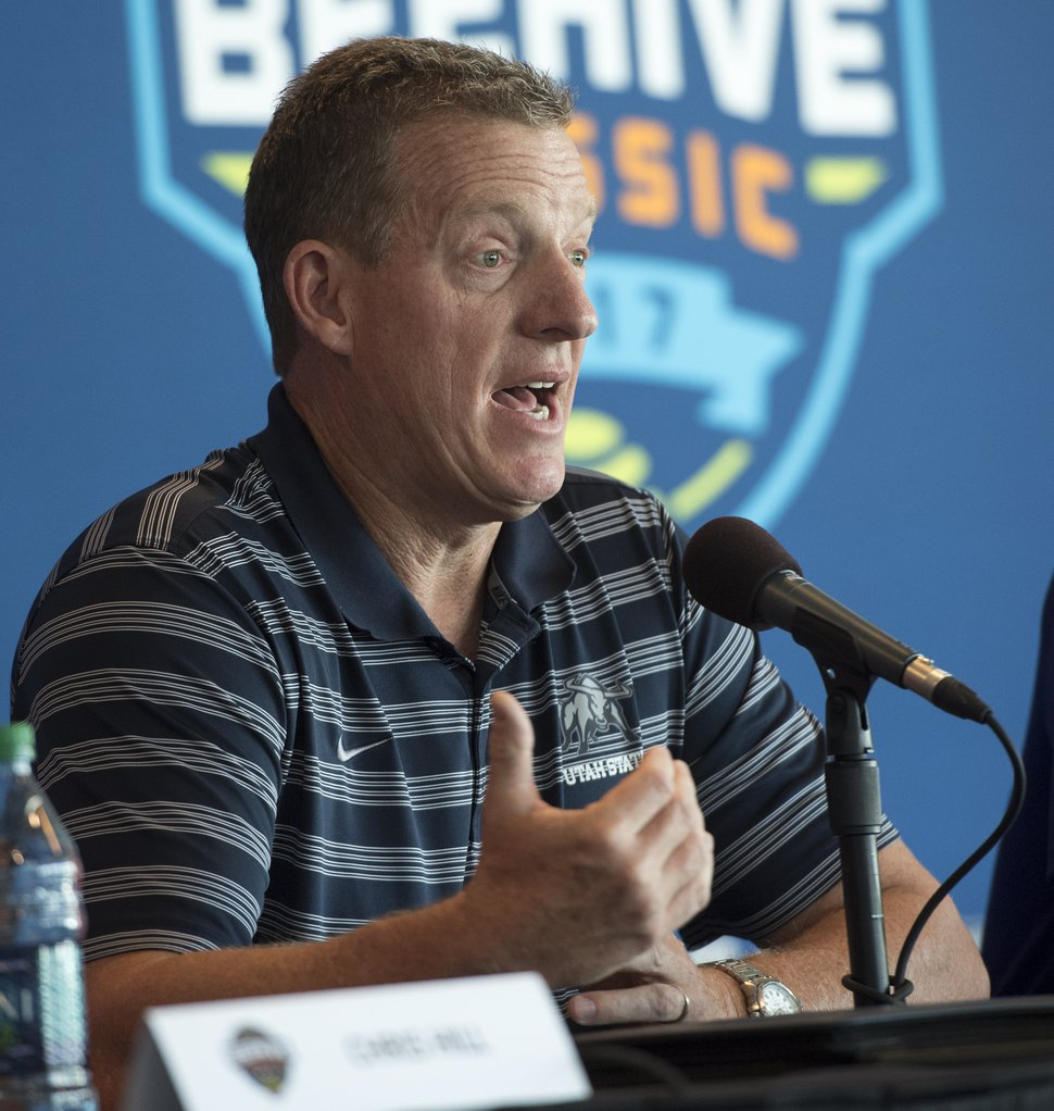 (Rick Egan | The Salt Lake Tribune) John Hartwell, Athletic Director, Utah State University talks about the new menÕs college basketball showcase featuring BYU, Utah, USU, and Weber State, at Vivint Smart Home Arena, Thursday, July 21, 2016.