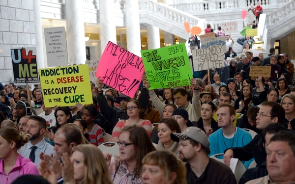 Al Hartmann | The Salt Lake Tribune Hundreds of people rally at the Utah State Capitol Rotunda on Thursday, February 20 to support Medicaid expansion in Utah. If the state doesn't expand Medicaid by accepting federal funding, 58,000 low-income Utahns will fall into a