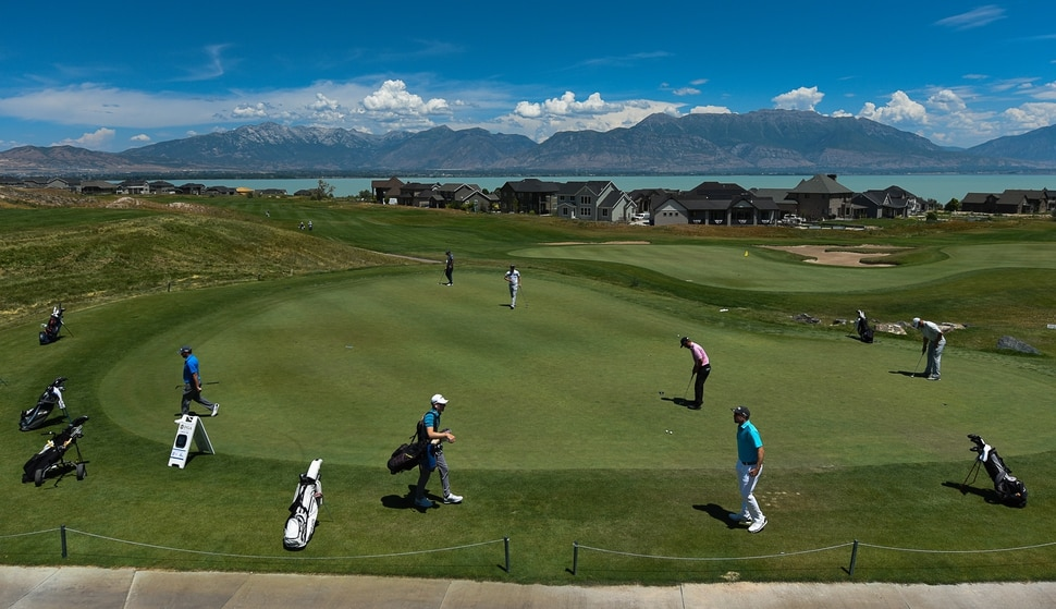 (Francisco Kjolseth | The Salt Lake Tribune) A mixture of local pros and nationwide travelers make their annual attempt to qualify for the Utah Championship on the Web.com Tour as they play at Talons Cove Golf Course in Saratoga Springs on Monday, July 7, 2018, for a shot to play in a PGA Tour-brand event. Only 12 players advance from a field of roughly 140.