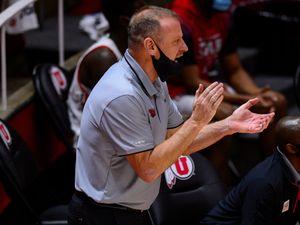 (Trent Nelson  |  The Salt Lake Tribune) Larry Krystkowiak as Utah hosts Colorado, NCAA basketball in Salt Lake City on Monday, Jan. 11, 2021.
