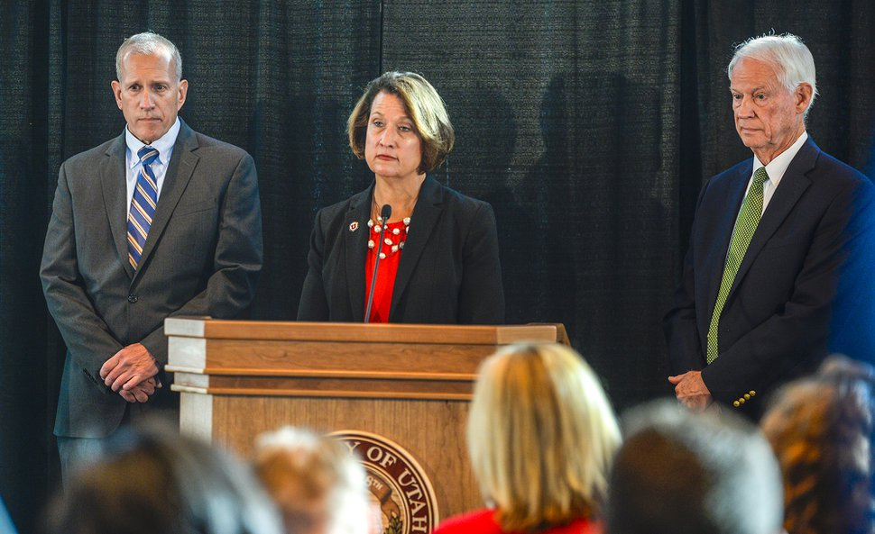 Leah Hogsten | The Salt Lake Tribune University of Utah President Ruth V. Watkins announced the university has launched an independent review team, Friday, Nov. 2, 2018, that will conduct two in-depth reviews, one on police response to Lauren McCluskey case and the other on campus safety. Watkins was flanked by two of three review team members; senior vice president for government and industry relations at ANDE, Keith D. Squires, left, and retired attorney John T. Nielsen, right. Both men were former commissioners of the Utah Department of Public Safety. Sue Riseling, executive director of the International Association of Campus Law Enforcement Administrators did not attend the press conference.