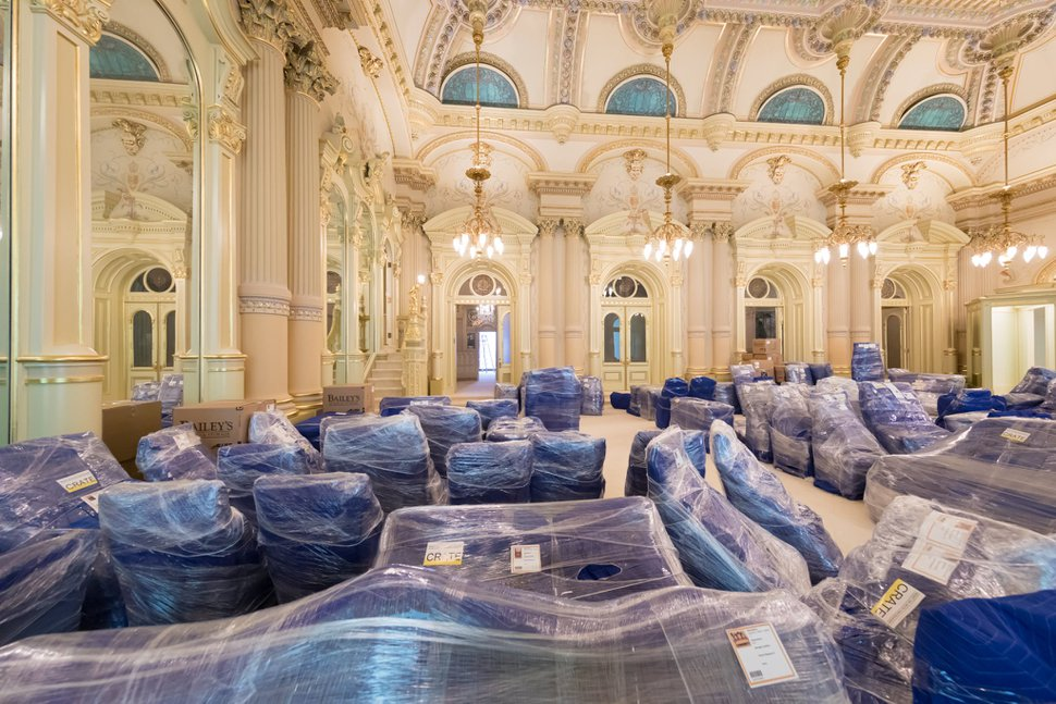 (Photo courtesy of The Church of Jesus Christ of Latter-day Saints) Crews are removing furnishings from inside the Salt Lake Temple as a major renovation project gets underway.