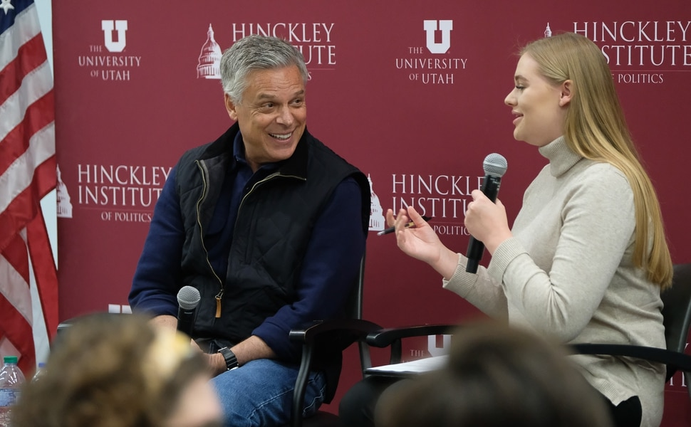 (Francisco Kjolseth | The Salt Lake Tribune) Former Utah Governor and Ambassador Jon Huntsman sits down with ASUU Student Body President Annamarie Barnes at the Hinckley Institute of Politics on the University of Utah campus on Thursday, Dec. 5, 2019, to discuss his long career in public service spanning from UtahÕs GovernorÕs Mansion to Chinese and Russian ambassadorships and examine the increasing significance Utah plays in our globalized world.