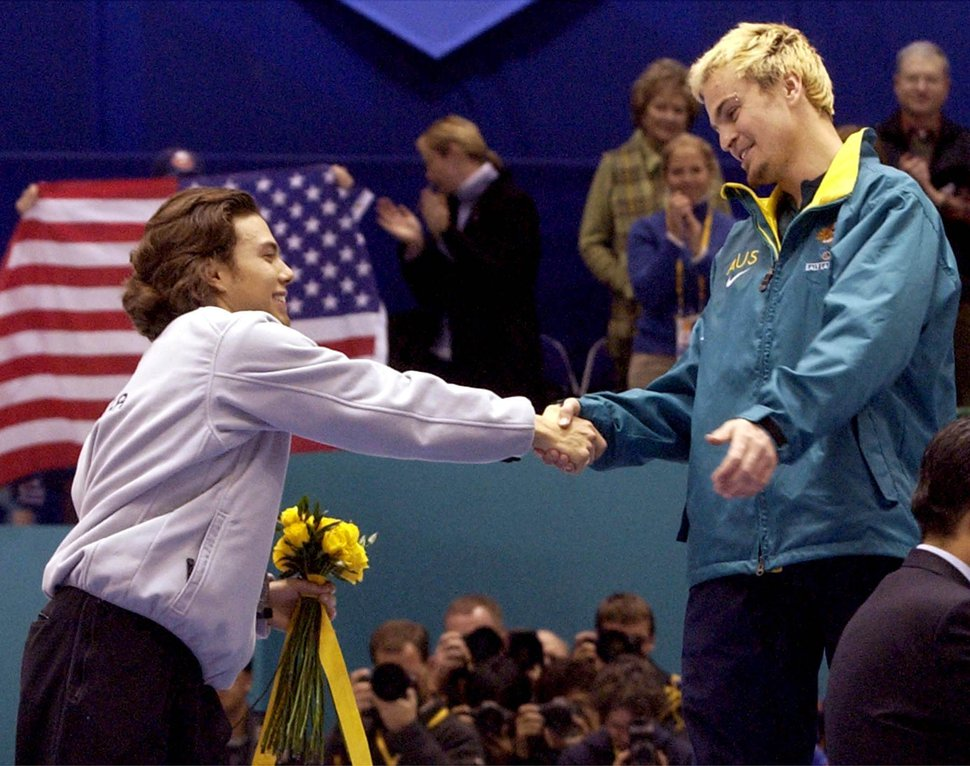 USA's silver medalist Apolo Anton Ohno congratulates gold medalist Australia's Steven Bradbury after the men's short track speed skating 1000M final race on Saturday at the Salt Lake Ice Center.
