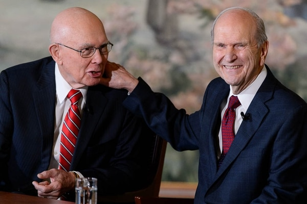 (Trent Nelson | The Salt Lake Tribune) Dallin H. Oaks and Russell M. Nelson at a news conference in the lobby of the Church Office Building in Salt Lake City, Tuesday, Jan. 16, 2018. Nelson was named the 17th president of the nearly 16 million-member Church of Jesus Christ of Latter-day Saints. Oaks was named first counselor in the First Presidency.