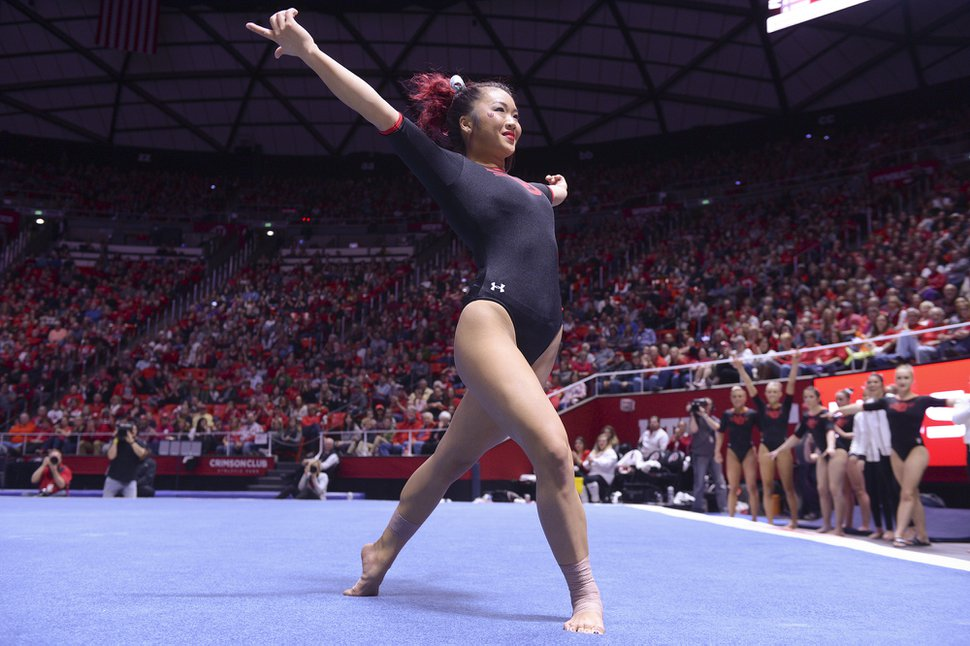 (Leah Hogsten | The Salt Lake Tribune) Kari Lee performs her floor routine as Utah hosts Arizona State in Women's Gymnastics at Jon M. Huntsman Center, Friday, February 9, 2018.