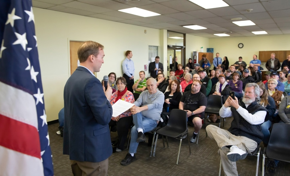 (Keith Johnson | for The Salt Lake Tribune) Newly elected Utah Congressman Ben McAdams, representing Utah's 4th District, holds a town hall meeting at the Redwood Recreational Center in West Valley City, Utah on Jan. 19, 2019. McAdams held the town hall meeting to make good on a promise to be more accessible to constituents, a criticism he leveled against former congresswoman Mia Love during McAdam's campaign.