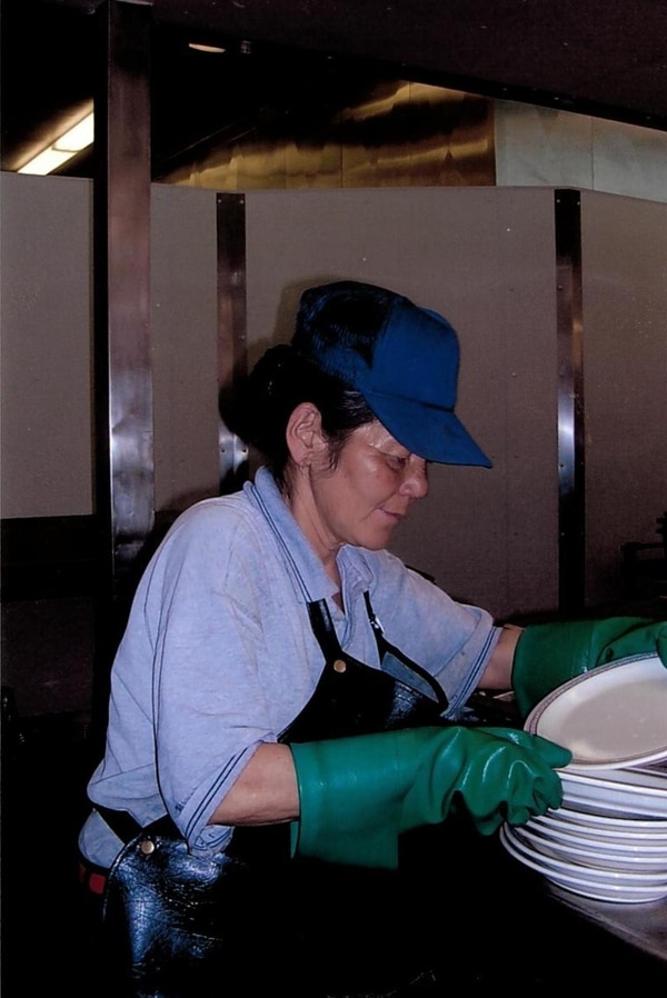 (Courtesy Hill Air Force Base) Chiyoko Copeland washes dishes at her job at Hill Air Force Base. She'd been working at the base, walking there most days no matter the weather, since 1995. She was killed Dec. 15, 2017, when a vehicle struck her while she crossed the street in Layton.