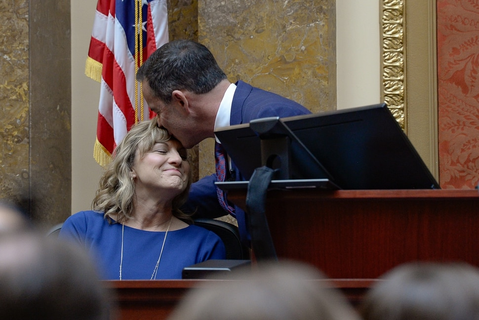 (Francisco Kjolseth | The Salt Lake Tribune) House Speaker Brad R. Wilson, R-Kaysville, compliments his wife Jeni as he begins his opening remarks for the start of the 2020 legislative session at the State Capitol in Salt Lake City, Utah, on Monday, Jan. 26.