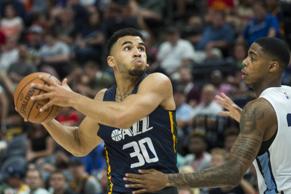 (Rick Egan | The Salt Lake Tribune) Utah Jazz guard Naz Mitrou-Long (30), takes the ball to the hoop, in Utah Jazz summer league action between Utah Jazz and Memphis Grizzlies in Salt Lake City, Tuesday, July 3, 2018.