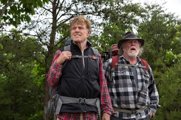 This photo provided by Broad Green Pictures shows, Robert Redford, left, as Bill Bryson, and Nick Nolte as Stephen Katz, in the film,