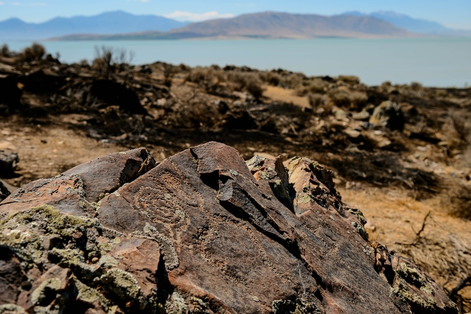 (Trent Nelson | The Salt Lake Tribune) Rock art at Adelbert Doyle Smith Family Preserve on Utah Lake's west shore on Monday, July 6, 2020, after a fire burned through the site.