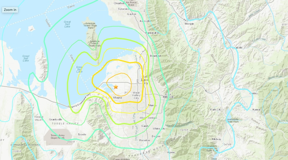 (U.S. Geological Survey) This map shows how the earthquake on Wednesday, March 18, 2020 was felt starting with its epicenter in Magna.