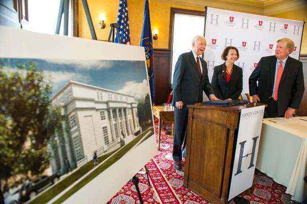 (Leah Hogsten | The Salt Lake Tribune) Sen. Orrin G. Hatch, University of Utah President Ruth V. Watkins and Kem Gardner with The Kem C. Gardner Policy Institute speak during an announcement Wednesday of details on a new center to be built in Salt Lake City, devoted to Hatch's legacy.