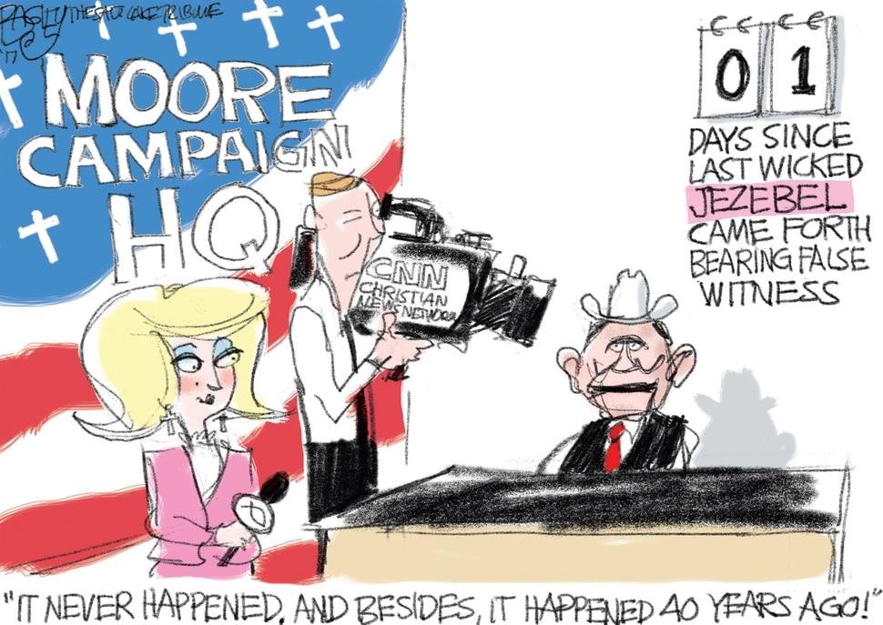 "(Pat Bagley | The Salt Lake Tribune) This Pat Bagley cartoon, titled ""Bearing Moore False Witness,"" appears in The Salt Lake Tribune on Sunday, Nov. 19, 2017."