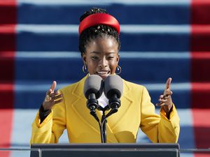 (Patrick Semansky, AP pool photo) American poet Amanda Gorman reads a poem during the 59th Presidential Inauguration at the U.S. Capitol in Washington, Wednesday, Jan. 20, 2021.