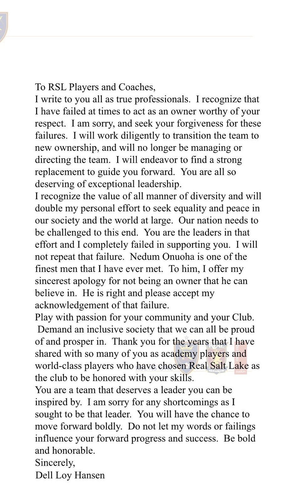 Dell Loy Hansen sent this letter to Real Salt Lake players and coaches Sunday morning.