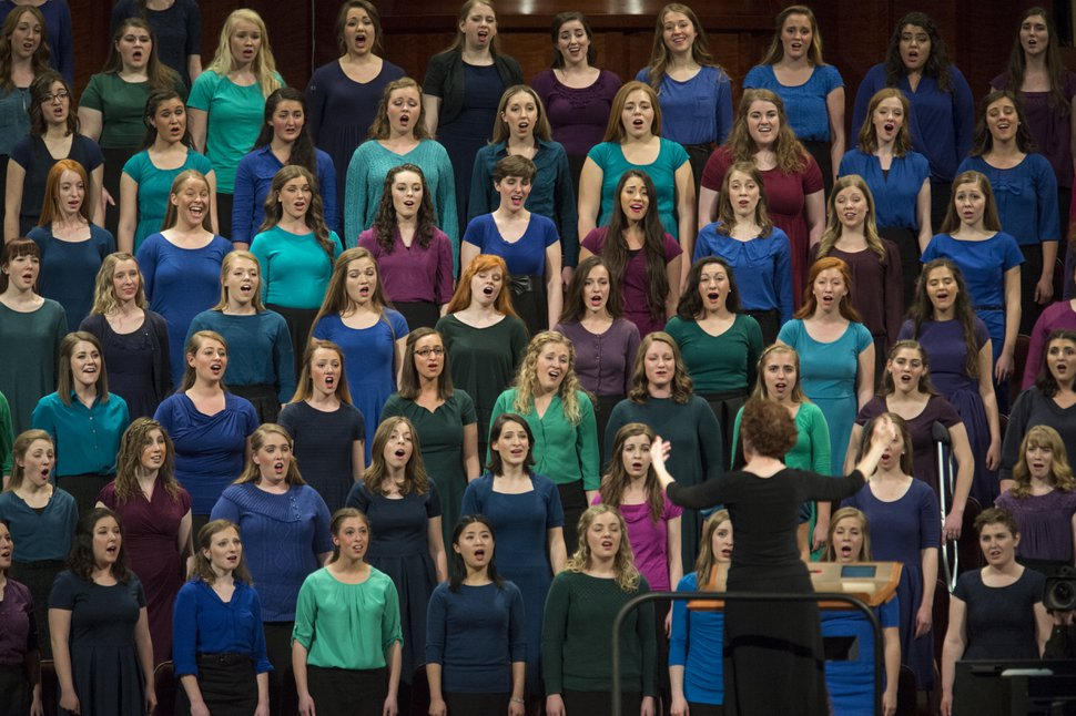 Rick Egan | The Salt Lake Tribune The combined Relief Society Choir from Brigham Young University sings at the women's session of General Conference on Saturday, March 25, 2017.