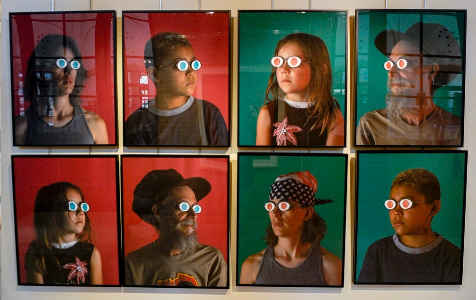 Leah Hogsten | The Salt Lake Tribune Blue Eyes, Brown Eyes by Jaune Quick-to-See Smith and Neal Ambrose-Smith, Corrales, New Mexico, digital photography, 2007 at the exhibit Speaking Volumes: Transforming Hate, opening Friday, June 15 at the Ogden Union Station Museum. This installation was inspired by Jane Elliott's historic Blue Eyes, Brown Eyes experiment, begun the day after the assassination of Martin Luther King, Jr. in 1968, to teach her third-graders what it means to experience bigotry. The exhibit showcases 30 artists who transformed white-supremacist books into uplifting works of art.