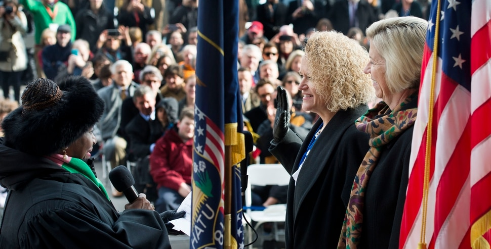 (Steve Griffin | Tribune file photo) Salt Lake County Presiding Judge Shauna Graves-Robertson administers the Oath of Office to Salt Lake Mayor Jackie Biskupski in Salt Lake City on Monday, January 4, 2016.