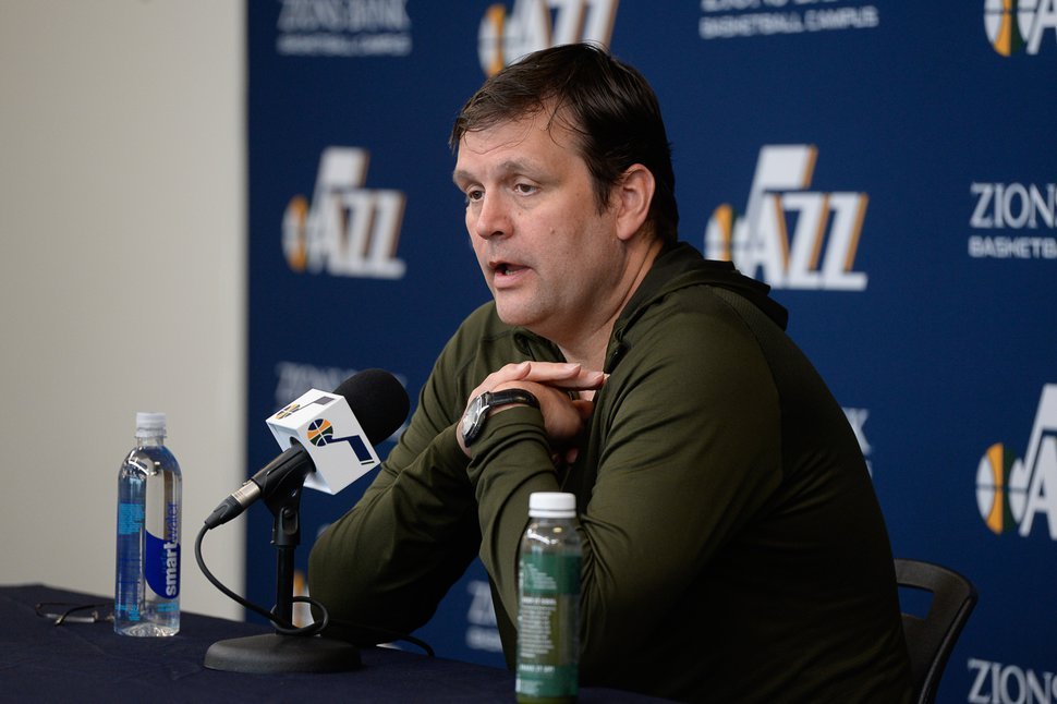 (Francisco Kjolseth   Tribune file photo) Jazz General Manager Dennis Lindsey begins the team's season-ending press availability followed by the coach and players at the team practice facility on Thursday, April 25. 2019.