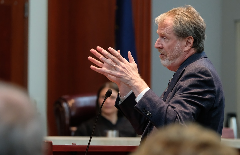 (Francisco Kjolseth | The Salt Lake Tribune) Salt Lake Tribune attorney Michael O'Brien speaks with the Utah Supreme Court as it hears the appeal filed by BYU lawyers in 2018 after a 3rd District judge ruled that the private universityÕs police force is a governmental entity that has to follow the same rules for transparency as other police departments across the state on Friday, Oct. 4, 2019. The Salt Lake Tribune's lawsuit involved whether BYU police should be subject to Utah's open records laws.