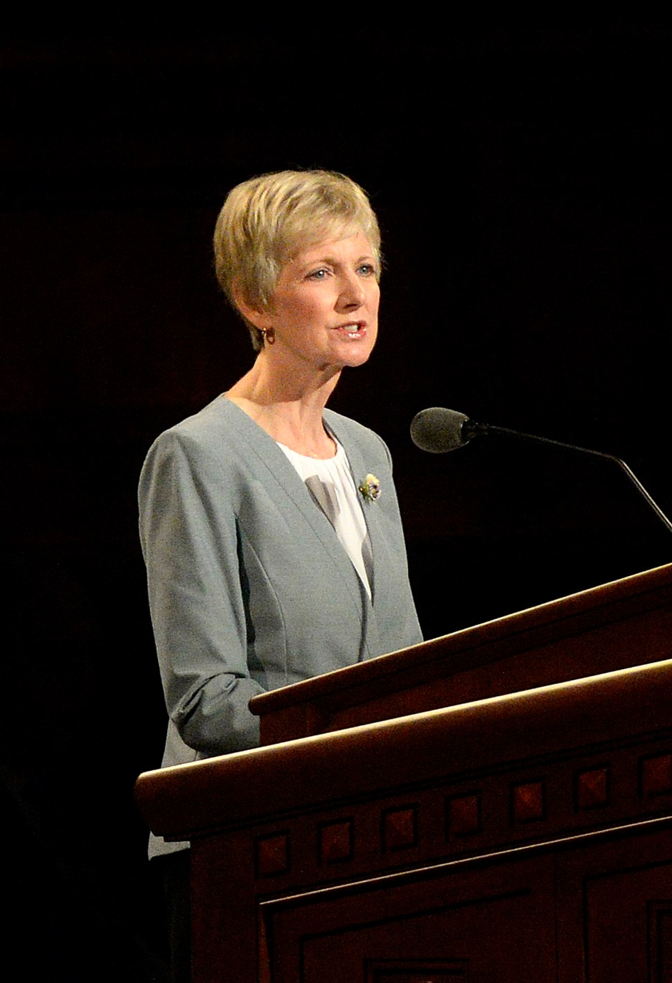 (Al Hartmann | The Salt Lake Tribune) Jean B. Bingham, Relief Society general president, speaks at General Conference on Sunday, Oct. 1 2017.