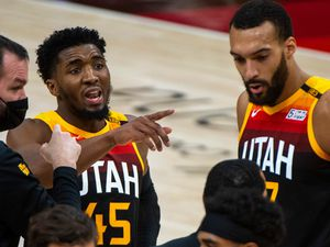 (Rick Egan | The Salt Lake Tribune) Utah Jazz guard Donovan Mitchell (45) gives directions to his team mates during a time out, in NBA action between the Utah Jazz and the Atlanta Hawks at Vivint Arena, on Friday, Jan. 15, 2021.