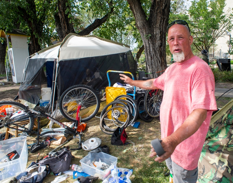 (Rick Egan | The Salt Lake Tribune) Richard Ryan discusses his options as he is notified on Wednesday, Sept. 10, 2020, that he will be forced to move his camp from Taufer Park in Salt Lake City first thing in the morning, fearing everything will be taken from him if he is not prepared when they arrive.