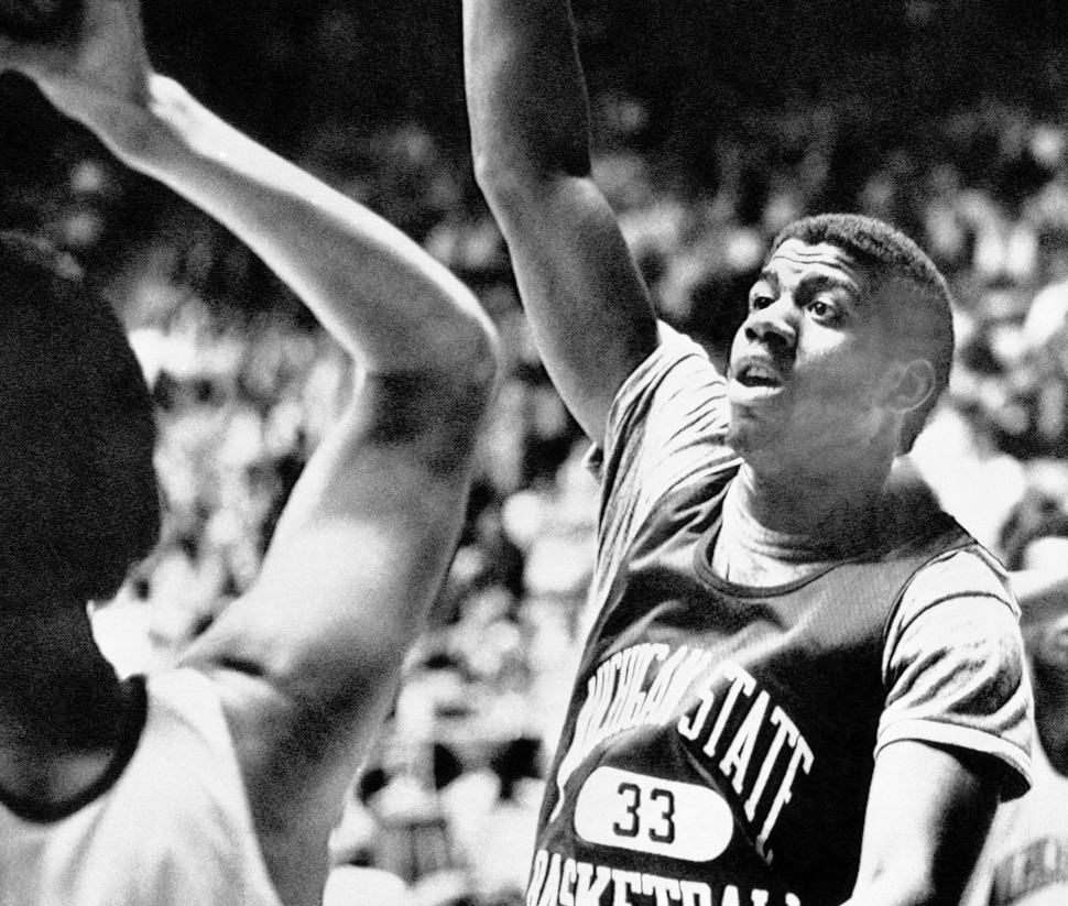 (AP Photo) Michigan State's Earvin Johnson works on his defense as the Spartans worked out in Salt Lake City, Utah on March 23, 1979, in preparation for tomorrow's game with Pennsylvania in the semi-finals of the NCAA tournament.