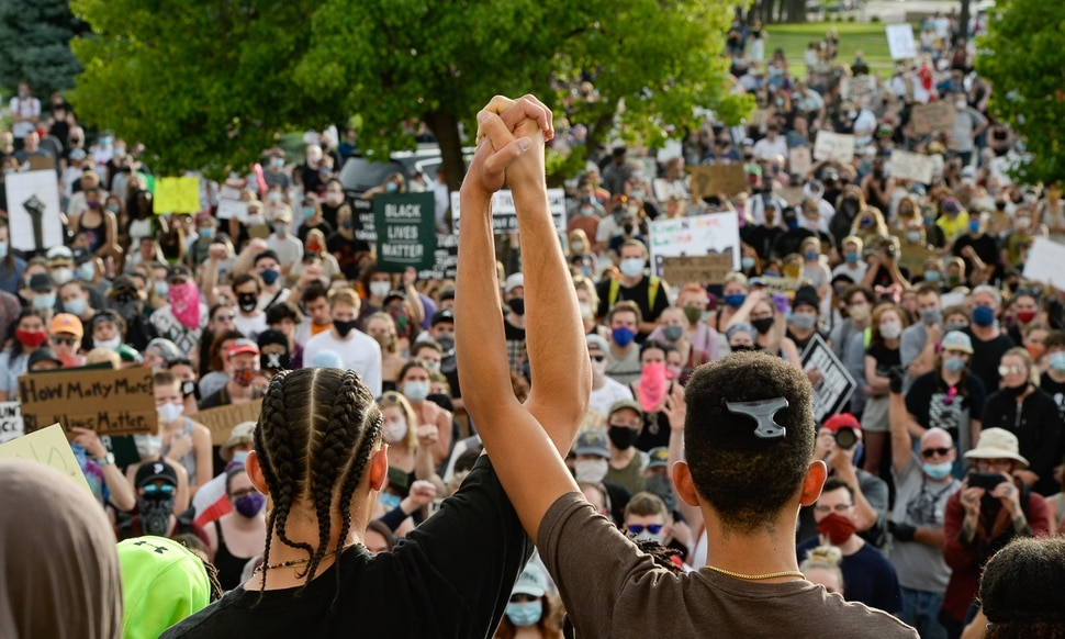(Francisco Kjolseth | The Salt Lake Tribune) Demonstrators protesting against police brutality gather at the Park building at the University of Utah on Wednesday, June 3, 2020, in Salt Lake City, as the initially set 8 p.m. weeklong curfew was removed.
