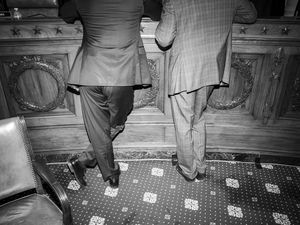 """(Damon Winter  The New York Times)  Republican members of the House confer during a hearing on Capitol Hill in Washington, Nov. 15, 2019. """"I saw close up what happens when democratically elected politicians think that they can endlessly abuse their institutions, cross redlines, weaken their judiciary and buy reporters and television stations,"""" writes The New York Times columnist Thomas L. Friedman, """"so that there is no truth, only versions, of every story."""""""