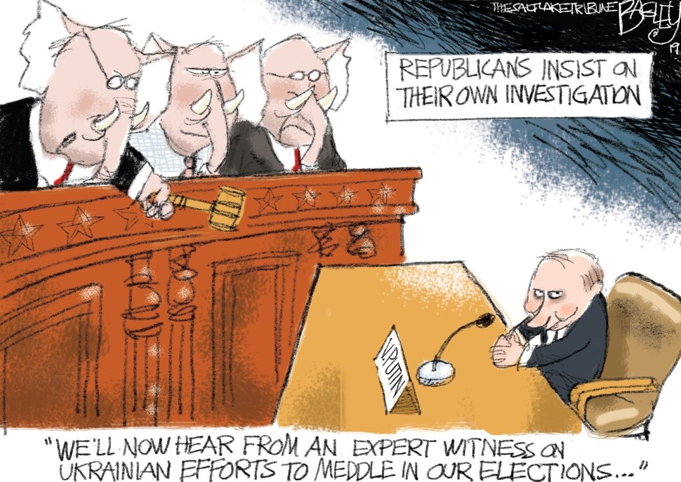 "(Pat Bagley | The Salt Lake Tribune) This cartoon, titled ""Unimpeachable Testimony,"" appears in The Salt Lake Tribune on Sunday, Nov. 24, 2019."