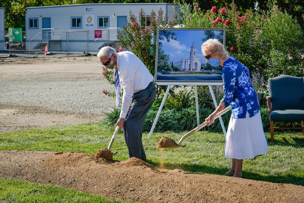 (Photo courtesy of The Church of Jesus Christ of Latter-day Saints) Latter-day Saints participate in the groundbreaking for the Feather River Temple in Yuba, Calif., on July 18, 2020.