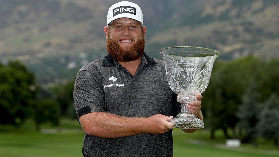 FARMINGTON, UTAH - JUNE 28: Kyle Jones poses with the winner's trophy after the final round during the Utah Championship at Oakridge Country Club on June 28, 2020 in Farmington, Utah. (Photo by Matthew Stockman/Getty Images)
