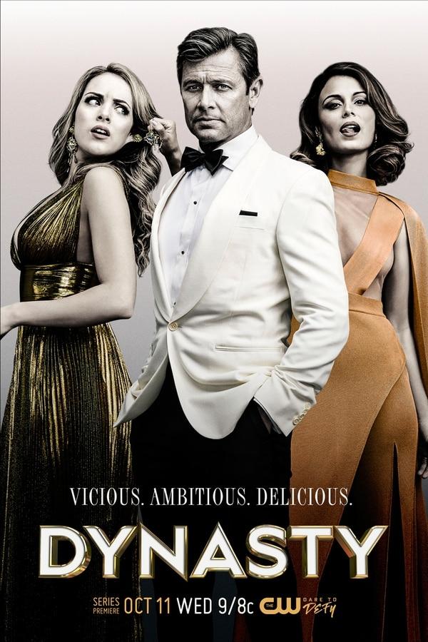 "(Courtesy of Marc Hom/The CW) Elizabeth Gillies as Fallon Carrington, Grant Show as Blake Carrington and Nathalie Kelley as Cristal Flores in ""Dynasty."""