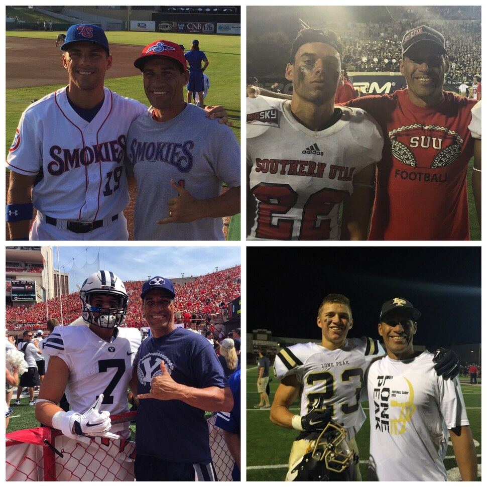 | Courtesy Hannemann family Howard Hannemann with his sons at four games in one week. Jacob AA Smokies in Knoxville; Kyle SUU at Utah State; Ammon Lone Peak at West HS; and Micah BYU at Nebraska. Sep 2015.