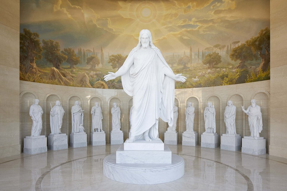 (Photo courtesy of The Church of Jesus Christ of Latter-day Saints) The Christus and the apostles in the Rome Italy Temple Visitors' Center.