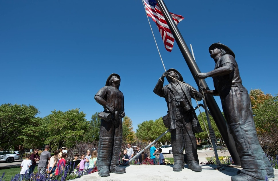 (Francisco Kjolseth | The Salt Lake Tribune) The Utah Healing Field marks the 19th anniversary of the 9/11 attacks, as 1500 flags fly on the promenade across from the memorial and Sandy City Hall on Friday, Sept. 11, 2020. This year the flags are spaced out more than they have in the past to allow for social distancing among people who visit the display.