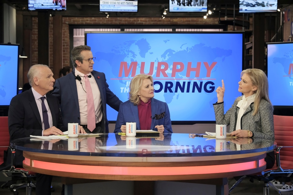 "(Photo courtesy Jojo Whilden/CBS) Joe Regalbuto as Frank Fontana, Grant Shaud as Miles Silverberg, Candice Bergen as Murphy Brown, and Faith Ford as Corky Sherwood in ""Murphy Brown."""