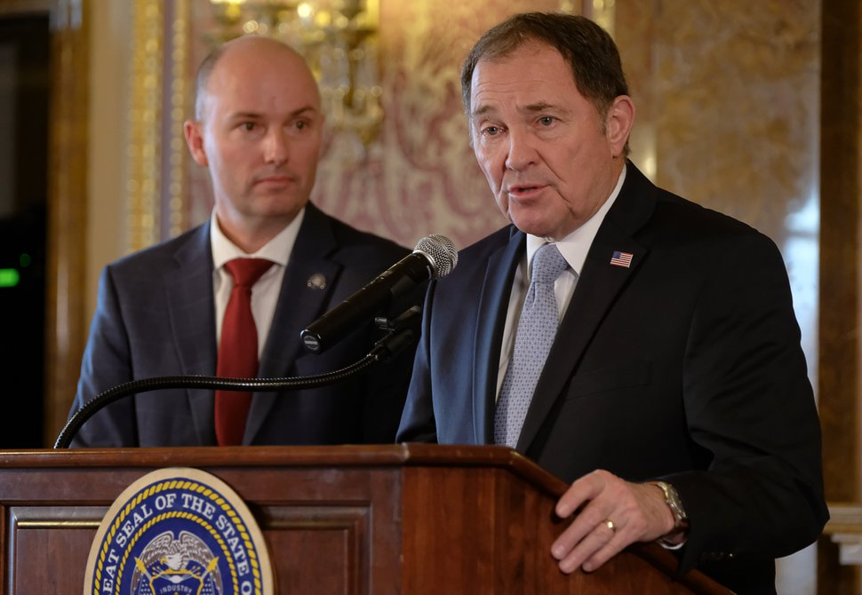 (Francisco Kjolseth | The Salt Lake Tribune) Gov. Gary Herbert, right, is joined by Lt. Gov. Spencer Cox as they speak at the Capitol in Salt Lake City on Friday, March 13, 2020, where he ordered a 'soft closure